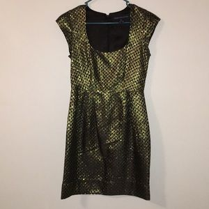French connection cocktail dress black and gold